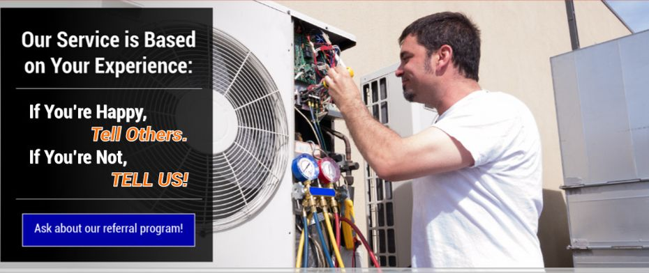Our Service is Based on Your Experience: If You're Happy, Tell Others. If You're Not, TELL US! HVAC technician working on a mini-split condensing unit